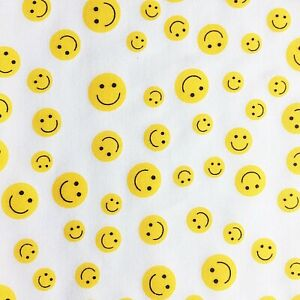 NEW! Emoji  PolyCotton Crafts FABRIC White Yellow Smiley Faces Material