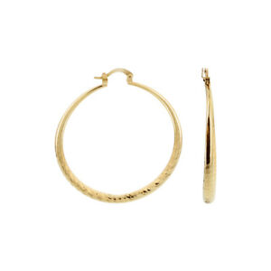 18k Gold Layered Hoop Earrings (49mm Diameter)