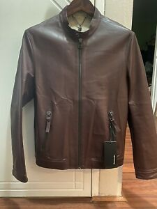 New Men's Goat Leather Jacket Wine Brown