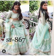 Green Net Lehenga Choli Chunri Designer Lengha Ghagra Ethnic Sari Saree indian