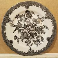 "Set of 4 Royal Stafford Asiatic Pheasant 8"" Salad Dessert Plate - Black Floral"