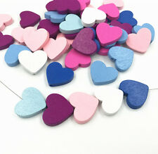 50X Wooden Heart Shape Beads Spacer Beading Wood Beads DIY Accessories Kids Toys
