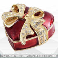 Heart Shapes Jewelry Pill Trinket Box with Hinged Lid Bejeweled Rhinestone Decor