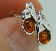 925 Sterling Silver Cabochon Cognac Amber Celtic Knot Stud Earrings