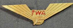 Vtg 1960's TWA Second Officer Flight Engineer Wings Pin Blackinton 1/20 10K GF