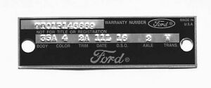 NEW! Ford Fairlane Mustang Warranty Door Data Plate 1966-1967 Punched custom