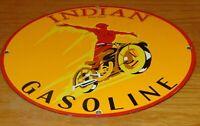"""VINTAGE 1936 INDIAN SPIRIT GASOLINE MOTORCYCLE 11 3/4"""" PORCELAIN METAL OIL SIGN!"""