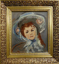 UNSIGNED! PORTRAIT OF A GIRL WITH HAT. NO RESERVE