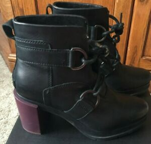 Pre-owned SOREL Womens Margo Lace Black Boot Leather Waterproof Size 7 Ret. $220