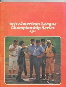 1971 AL Championship Program Oakland A's at Baltimore Orioles EXMT Condition