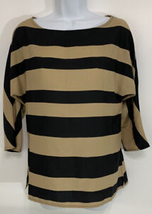 Ann Taylor Loft XS 3/4 Sleeve Black and Tan Striped Top NWOT