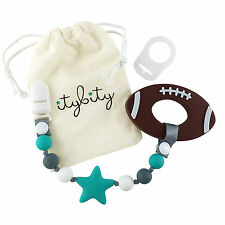 Baby Teether Football and Pacifier Clip Teether Set