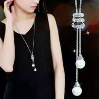 Fashion Pearl Crystal Long Sweater Chain Necklace Collars Statement Jewellery