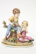 Musizierende Kinder Junge und Mädchen aus Porzellan Original Capodimonte