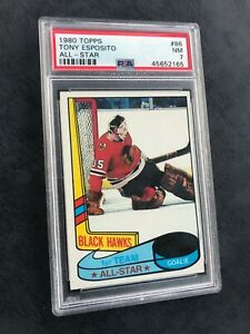 1980 TOPPS #86 TONY ESPOSITO BLACK HAWKS HOF PSA-7 NM (unscratched)