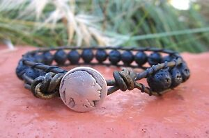 Handcrafted Gift Mens Lava Rock Surf  Army Green  Leather Bracelet w/ Indian