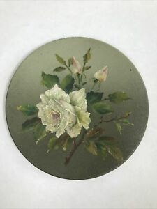 Antique Oil Painting Of Roses On Circular Metal