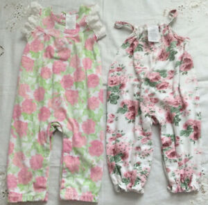 LAURA ASHLEY Baby Girl 6-9 Months Lot Of 2 Cotton Pink Floral Rompers