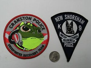 2 RI RHODE ISLAND PD POLICE CRANSTON UNDERWATER RECOVERY, NEW SHOREHAM K-9 patch