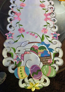 "Easter Decor Table Runner Easter Bunny Egg Embroidered Heirloom Design 68"" L"