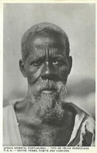 OLD RUFINO POSTCARD 1920's - MOZAMBIQUE NATIVE TRIBES ZAMBEZIAN OLD MAN