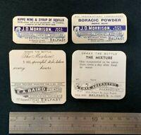 Collection of 4 Vintage Chemist Medicine Pharmacy Bottle Labels, Belfast Ireland