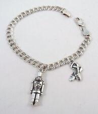 Child's St Silver Nutcracker & Ballet Slipper Charms on a Silver Charm Bracelet