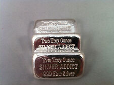 "2oz Hand Poured 999 Silver Bullion Bar ""Silver Addict"" by YPS"