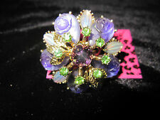 BETSEY JOHNSON A BLOOMING GARDEN ICONIC PURPLE FLOWER STRETCH RING SIZE 7
