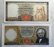 100.000 lire MANZONI + 50.000 lire LEONARDO (COPIE)