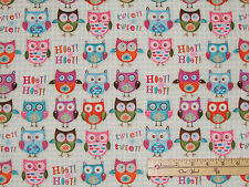 Woodland Critters Fox Porcupine OWL Hoot Hoot Fabric   by the 1/2 Yard  #24659