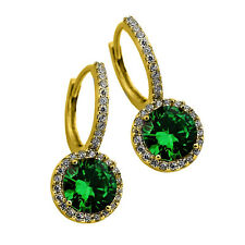 2.49 CT STUNNING HALO DROP EMERALD EARRINGS 14K YELLOW GOLD PLATED SILVER