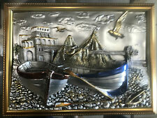 71x58 cm 3 D Mahagoni Holz Spiegel Designer Bild Bilderrahmen Boote & Meerblick