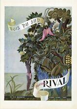 """""""BOIS DU SUD / PARFUMS RIVAL"""" Annonce originale entoilée PLAIRE 1945"""