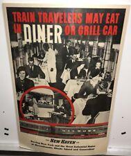 Original vintage Travel Poster Diner Car New Haven Railroad