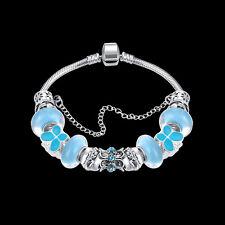 Women 925 Silver Filled European Bracelet Heart Charms Blue Beads Chain