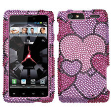 For Motorola DROID RAZR MAXX Crystal Diamond BLING Case Phone Cover Cloudy Heart