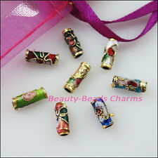 8Pcs Vintage Mixed Enamel Cloisonne Tube Spacer Beads Charms 3.5x9mm