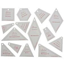 SEW EASY -MINI TEMPLATES 13 DIFFERENT - SQUARE,TRIANGLE,DIAMOND,ANGLE, HEXAGON