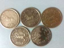 Indian 1 Pice, Old horse coins (5 pieces), for random Years between 1950 & 1955