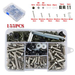 Universal 155Pcs Motorcycle Shell Fairing Bolt Plate Screw Nut Stainless Thread