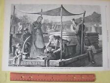 Vintage Print,SUNDAY ON CANAL#3,Paul Frenzeny,Oct.1873,Canal