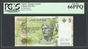 Tunisia 5 Dinars 20-3-2013 P95 Uncirculated Graded 66