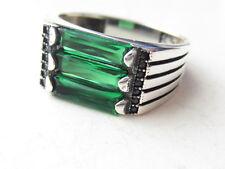 Turkish 925 Sterling Silver Emerald Black Zircon Handmade Men Ring SZ 10.5