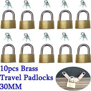 10pcs Brass Travel Luggage Suitcase Padlock Key Lock