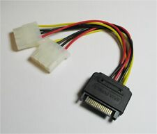 15-Pin SATA to 2 x 4-Pin IDE Molex Power Connector Adapter Splitter Cable