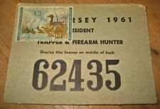 New Jersey Resident Hunting License, 1961, Vintage, with Federal Duck Stamp