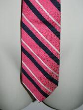 VTG SHORE & SINGER Pink Black White Stripe 100% Dacron Polyester Men Necktie Tie