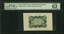 Colonial Currency Fr. 1238Sp 5¢ Third Issue Wide Margin Back Pmg Choice Uncircul