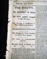 CONFEDERATE DOOM Confedracy Rebellion Falling Apart 1865 Civil War Newspaper
